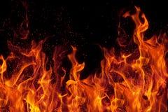 Feuer getrennt über schwarzem Hintergrund Stockfotos