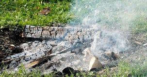 Feuer, Glut, die im Feuer schwelt abend Lizenzfreie Stockfotografie