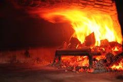 Feuer hölzerner Burning im Ofen stockfoto