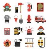 Feuer-Ikone flach stock abbildung