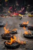 Feuer im buddhistischen Tempel Lizenzfreie Stockbilder
