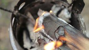 Feuer im Eisenofen stock video