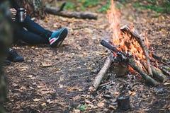 Feuer im forestSelective Fokus Stockfotografie