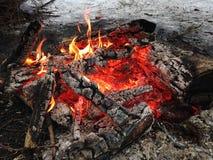 Feuer im Holz Stockbilder