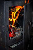 Feuer im Ofen Lizenzfreies Stockfoto