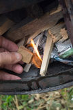 Feuer im Ofen Stockfotos