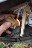 Feuer im Ofen Stockfotografie