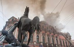 Feuer im Palast Stockbild