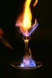 Feuer innerhalb des Glases Stockfoto