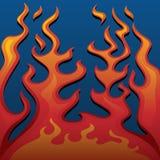 Feuer-klassische Art-Flammen auf blauer Hintergrund-Vektor-Illustration stock abbildung