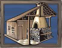 Feuer Oven Vector Illustration in der Holzschnitt-Art Lizenzfreies Stockfoto