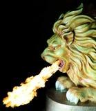 Feuer-Spratzen-Löwe Stockfoto