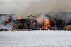 Feuer am Stall. Lizenzfreies Stockbild