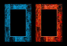 Feuer und Eis Rahmen in der antiken Art 3D übertragen Lizenzfreie Stockfotos