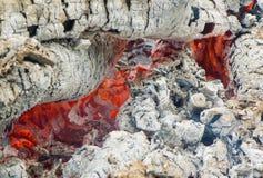 Feuer und gebrannte Holzkohle Stockfoto