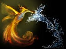 Feuer und Wasser armony Stockbild
