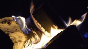 Feuer von brennenden Klotz stock footage