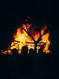 Feuer während San Juan in Teneriffa Wichtiger Feiertag in Spanien stockfotos