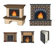 Feuer, Wärme und Komfort Vector gesetzte Sammlungsikonen des Kamins in der Karikaturart Illustrationsnetz des Symbols auf Lager Lizenzfreie Stockfotos