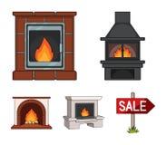 Feuer, Wärme und Komfort Vector gesetzte Sammlungsikonen des Kamins in der Karikaturart Illustrationsnetz des Symbols auf Lager Lizenzfreie Stockfotografie