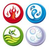 Feuer, Wasser, Boden und Luft Stockbild