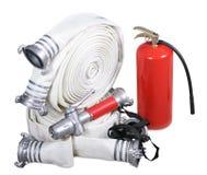 Feuerausrüstung auf einem weißen Hintergrund stockbilder