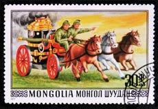 Feuerbekämpfender Wagen und Pferde, circa 1977 Stockfoto