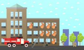 Feuerbekämpfungs-Abteilungsvektorfahne Station und Feuerwehrmänner LKW, errichtend stock abbildung