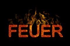 Feuerbeschriftung im deutschen Burning stockbild