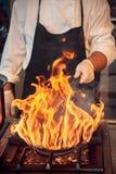 Feuerbrand, kochend auf Eisenstein Stockfotografie
