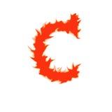 Feuerbuchstabe C lokalisiert auf weißem Hintergrund Stockfotos