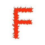 Feuerbuchstabe F lokalisiert auf weißem Hintergrund Lizenzfreies Stockbild