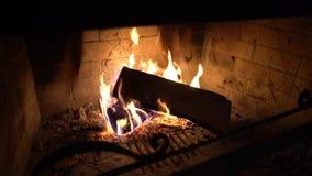 Feuerflammen auf den hölzernen Klotz, die im Kamin in der Dunkelheit brennen stock video