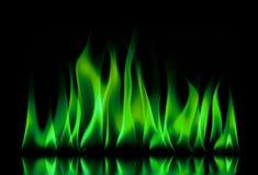 Feuerflammen auf einem Schwarzen Stockfoto