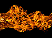 Feuerflammen auf Schwarzem Stockfotografie