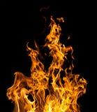 Feuerflammen auf Schwarzem Stockfoto