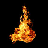 Feuerflammen lokalisiert auf Schwarzem Stockbild