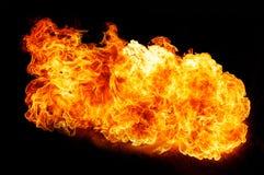 Feuerflammen, lokalisiert auf schwarzem Hintergrund Stockfoto