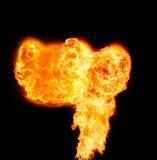 Feuerflammen, lokalisiert auf schwarzem Hintergrund Lizenzfreies Stockfoto