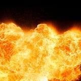 Feuerflammen, lokalisiert auf schwarzem Hintergrund Lizenzfreie Stockbilder