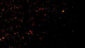Feuerglutpartikel masern ?berlagerungen Brennen Sie Effekt auf lokalisierten schwarzen Hintergrund Designbeschaffenheit vektor abbildung