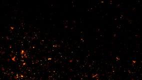 Feuerglutpartikel masern ?berlagerungen Brennen Sie Effekt auf lokalisierten schwarzen Hintergrund Designbeschaffenheit lizenzfreie abbildung