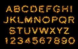 Feuerguß, Alphabet der Flamme Stockbilder