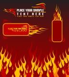Feuerhintergrund und -fahnen Stockbild