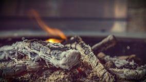 Feuerholz mit dem kleinen Feuer Lizenzfreies Stockfoto