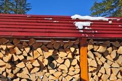 Feuerholz unter einem Kabinendach. lizenzfreies stockfoto