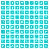 100 Feuerikonen stellten Schmutz blau ein Lizenzfreie Stockfotos