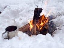 Feuerion ein Schnee Stockfotografie