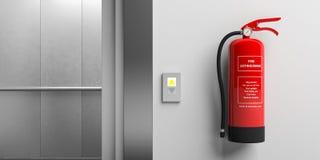Feuerlöscher auf einer Wand und einem Aufzug mit offenen Türen Abbildung 3D Stockbilder