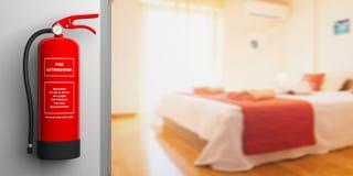 Feuerlöscher auf einer Wand, Unschärfehotelzimmerhintergrund Abbildung 3D Lizenzfreies Stockbild
